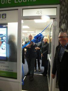 Mayor Briggs cuts ribbon, Karen Bennett & Gerard PCCU