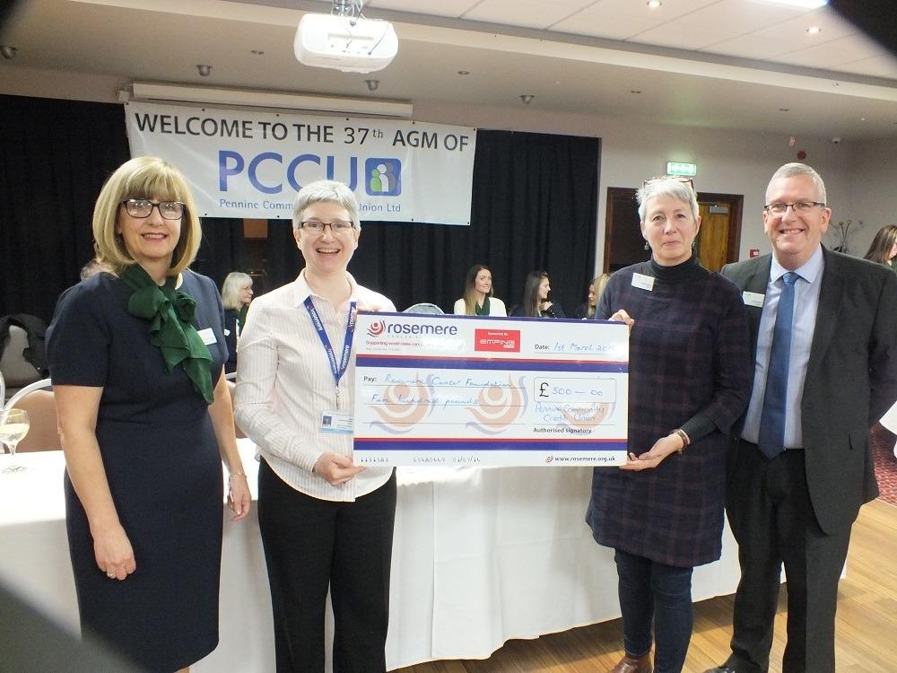 PCCU CEO Kathryn Fogg, Rosemere Cancer Foundation Julie Hesmondhalgh, PCCU Treasurer Karen Pashley, PCCU President Gerard Spain 1